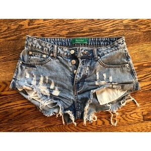 Signature Eight destroyed jean shorts